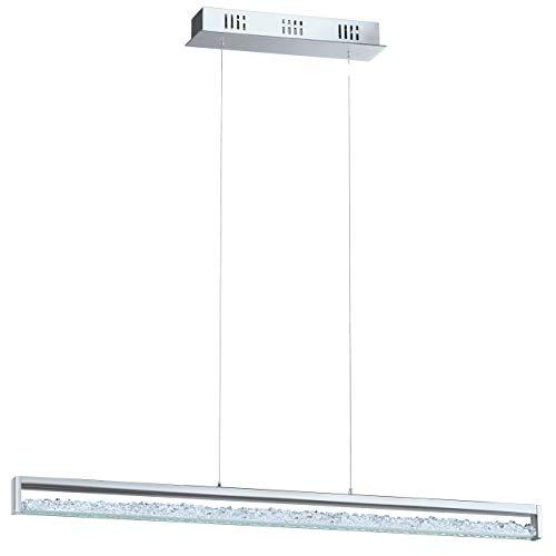 EGLO Pendelleuchte touch Hängelampe Kristall, Aluminium, Integriert, Chrom, 100 x 8 x 110 cm