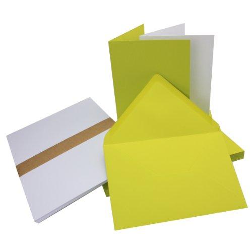 Einladungskarten inklusive Briefumschläge & Einlegeblätter   25er-Set   Blanko Klapp-Karten in Limette-Grün   bedruckbare Post-Karten in DIN B6 Format   speziell zum Selbstgestalten & Kreieren