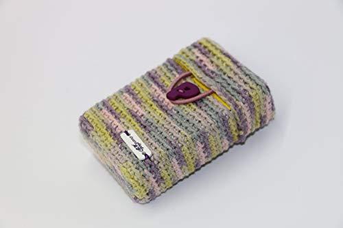 Rauchshirt, Hülle für Zigarettenpackung mit Monogramm, lila-grün-grau-rosa