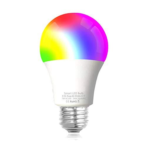 WiFi Smart LED Glühbirne, Multicolor Dimmable Lampe, Wake-Up Lights, Kein Hub erforderlich, Kompatibel mit Alexa, Google Home Assistant und IFTTT