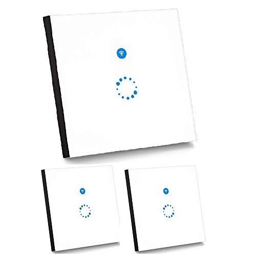 Sonoff Touch Schalter Funktioniert mit Google Home 1-Weg Touchscreen Lichtschalte Wasserdichter Wandschalter Touch Panel Schalter(Neutralleiter Benötigt, 3 Stück) -