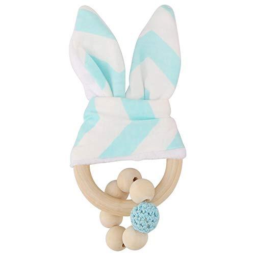 Granos coloridos hechos a mano de madera adorable conejito orejas anillo de dentición formación sensorial juguete decoración colgante para bebés niños pequeños (Blue)
