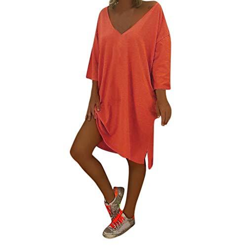 OverDose Boutique Freizeitkleider für Damen, Langarm V-Ausschnitt Einfarbig Boho Knielang Blusenkleid Sommerkleider Strandkleid Casual Große Größen S-5XL (Best S Halloween-kostüme 2019 Women)