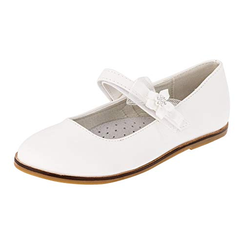 Giardino Doro Edle Festliche Innen Leder Kinder Mädchen Schuhe Ballerinas mit Klettverschluss M524ws Weiß 26 EU