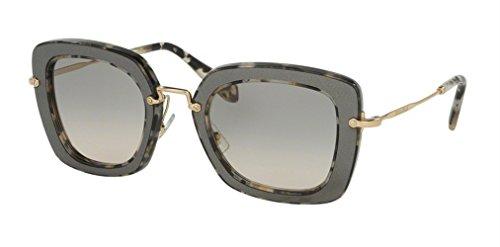 Miu Miu Damen Sonnenbrille 0MU07OS DHE3H2, Schwarz (Marble White Black/Beige), 52 (Sonnenbrille Miu Beige Miu)