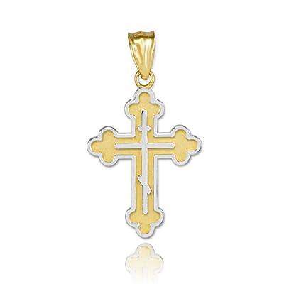 14 KaratZwei-Tone Gold-Russisch-orthodoxen Kreuz- Anhänger