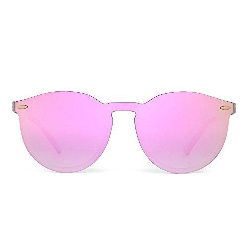 Jim halo occhiali da sole specchio senza montatura riflettenti un pezzo rotondi uomo donna (opaco trasparente/rosa specchio)