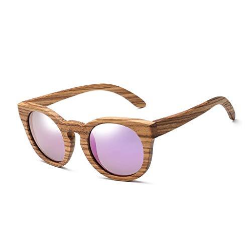 Sonnenbrille polarisierte handgemachte hölzerne ovale Rahmen im Freien Fahren dekorative UV-Schutz Männer und Frauen Brille (Farbe: lila Linse)