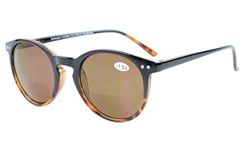 Eyekepper Schluesselloch Stil Federschanier Runde Bifocal Sonnenbrille Sonne Leser Schwarz-schildkroete +1.5