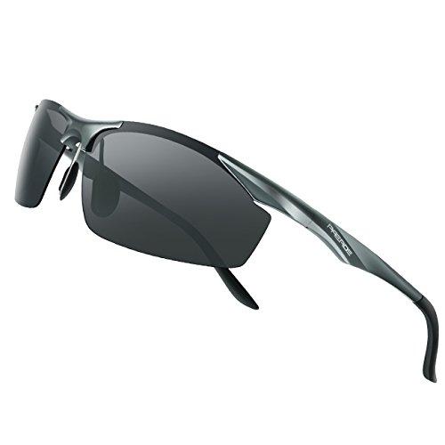 PAERDE sonnenbrille herren polarisierte sport uvex brille Al-Mg licht Rahmen verspiegelt sonnenbrille,Grau