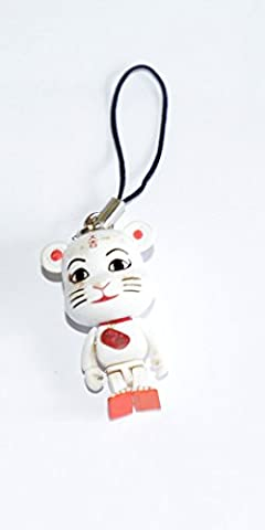 Japanese Lucky Cat Phone Charm with Movable Arms And Legs( White And Red Cat: protection from evil & illness )