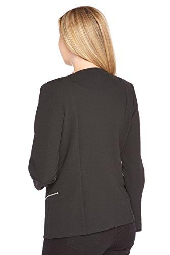 Roman Originals - Blazer Uni Ample Simple Fermeture Éclair - Femme Noir