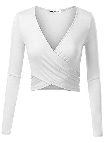 Weiße Langarm-top (MSBASIC Einzigartiges Cross Wrap Slim Fit Langarm Crop Top mit tiefem V-Ausschnitt 18025-2 Medium)