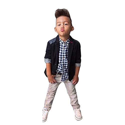 feiXIANG Kinder Jungen Anzug + Hemd Tops + Hosen Kleidung Outfits Set Kinder Kinderkleidung(Schwarz,7T) (Shirt Denim Halloween-kostüm)