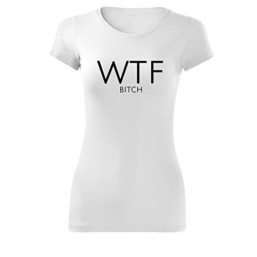 Top per ragazze oversize con motivo slogan wha´t the f... casual Top lungo 100% cotone (399-Gla-White-XL)