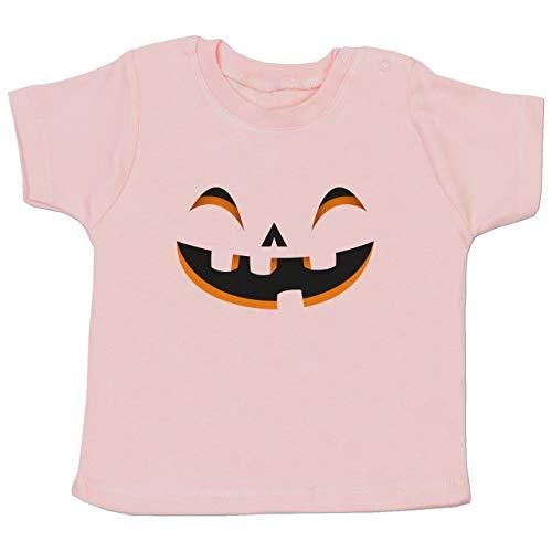 (Karneval und Fasching Baby - Kürbisgesicht Kostüm - 3-6 Monate - Babyrosa - BZ02 - Baby T-Shirt Kurzarm)