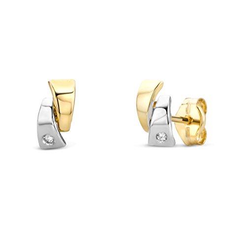Miore Ohrringe Damen Ohrstecker Bicolor Gelbgold/Weißgold 14 Karat/585 Gold Diamant Brillianten