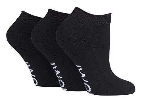 IOMI - 3er Pack Baumwolle Ohne Gummi Kurz Sneaker Diabetiker Socken (46/50, Black (Trainer)) (Diabetiker Gepolsterte Socken)
