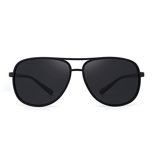 JM Retro Polarisiert Aviator Sonnenbrille Spiegel Leicht Gewichts Brillen Zum Damen Herren(Matt Schwarz/Polarisiertes Grau)