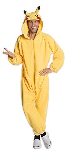 Pokémon Kostüm, Pikachu Jumpsuit mit Kapuze für Erwachsene, S, M/L, XL (M/L)