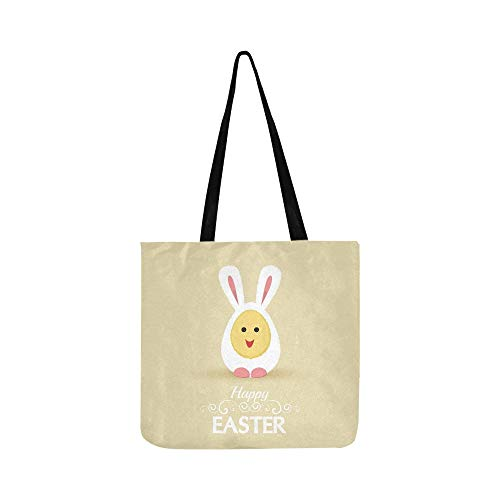 Vektor Glückliche Ostereier Kaninchen Kostüm Leinwand Tote Handtasche Schultertasche Crossbody Taschen Geldbörsen Für Männer Und Frauen Einkaufstasche (Tote Kaninchen Kostüm)