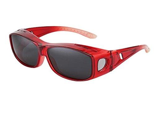 SHULING Sonnenbrille Offset Optische Sonnenbrille Kurzsichtigkeit Kit Spiegel Sonnenbrille Fahren Privat Big Box Gläser, Red Box/Grau Film
