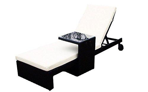 Baidani Gartenmöbel-Sets 10b00006.00001 Designer, Lounge-Liege Holiday, Liege, Beistelltisch, Auflage, schwarz