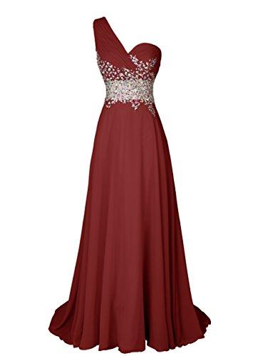 Dresstells Damen Maxikleid mit One-Shoulder-Optik und Pailletten DT90704 Burgundy