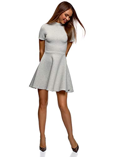 oodji Ultra Damen Kleid aus Strukturiertem Stoff mit Ausgestelltem Rock, Grau, DE 34 / EU 36 / XS