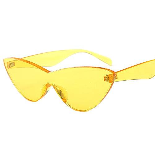 HUWAIYUNDONG Sonnenbrillen,One-Piecesunglasses Women Niedliche Sexy Cat Eye Vintage Billige Sonnenbrille Gelb