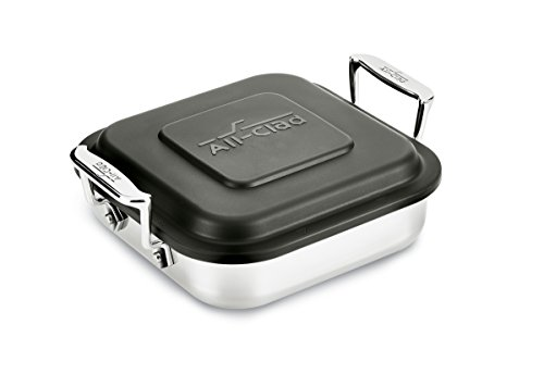 All-Clad E9019464 Gourmet Accessories Stainless Steel Square Baker w/ lid cookware, 20cm , Silver