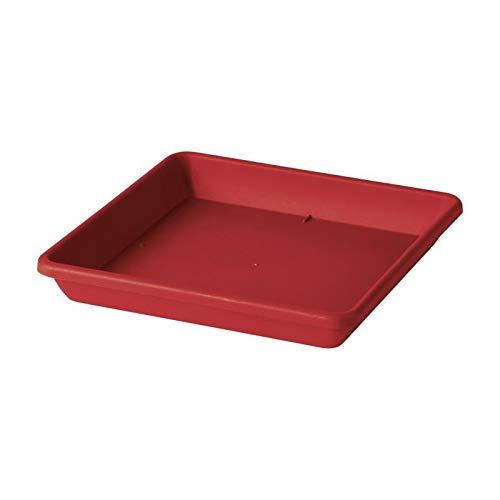Deroma soucoupe carrée ponza - 33x33x4,7cm - rouge griotte