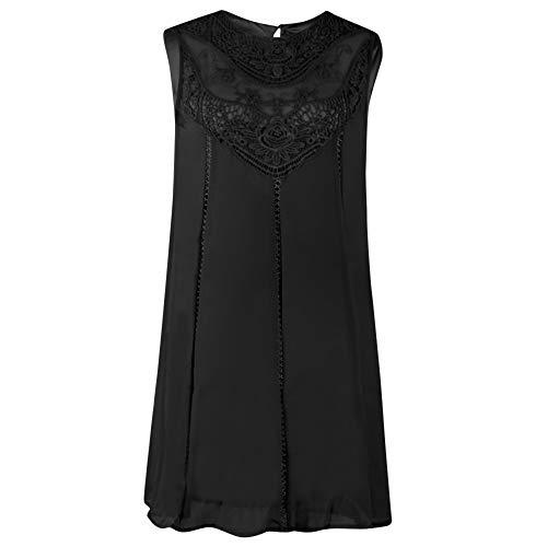 CAOQAO Frauen Sommer Oansatz Sleeveless Chiffon Party Minikleid Rock Frauen Frauen Casual Solide Spitzenkleid Minikleid D \'Sommerkleid Partykleid Trapezkleid Abend Retro Kleid