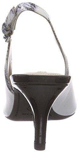 Geox D ELINA B, Damen Slingback Pumps, Mehrfarbig (WHITE/BLACKC0404), 38 EU -