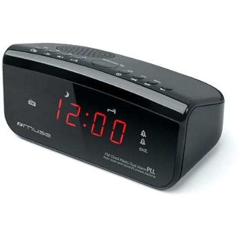 Muse M-12 CR - Despertador (LED, 7,3 cm, 8,9 cm, 13,5 cm, AAA/R03/UM4, 230V) Negro