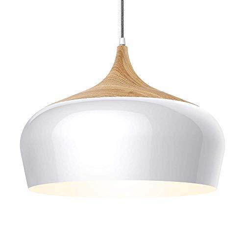 SGWH Moderne Deckenleuchte mit Holzmuster, Große Pendelleuchte aus Metall einschließlich 5 W LED Für Küche, Esszimmer, Wohnzimmer und Büro sowie Café, Weiß - Einschließlich Metall