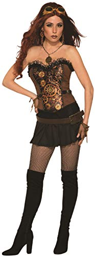 Ladies Steampunk Cogs Corset Victorian Wild West Inventor Revolution Carnival Halloween Fancy Dress Costume Outfit