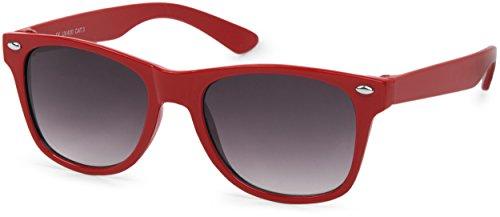 styleBREAKER Kinder Sonnenbrille, klassiches Retro, Nerd Design 09020056, Farbe:Gestell Rot/Glas Grau Verlauf