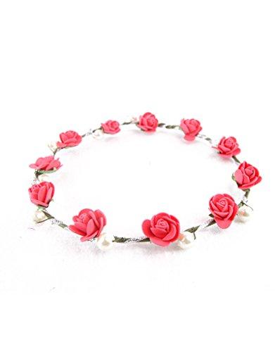Preisvergleich Produktbild funktionz Hochzeit Brautjungfer Boho floral Blumen Festival Stirn Stirnband Haar Garland (3in einer Packung) rot