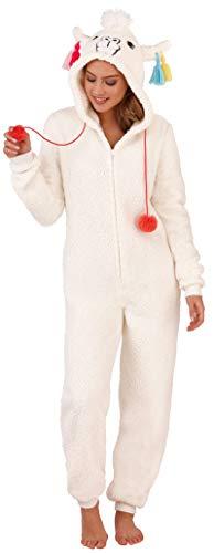 Loungeable Damen Macaroon Overall oder Morgenmantel Damen Luxus Nachtwäsche - Creme Lama, Groß (UK 16-18) - Luxus Nachtwäsche