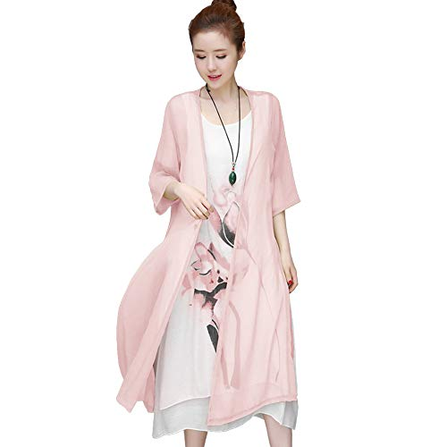 WFZ17 Kleid + Strickjacke, 2 Stück/Set, Vintage-Blumen-Motiv, ärmellos, Kaftan-Kleid mit Strickjacke rosa Rose XXL -