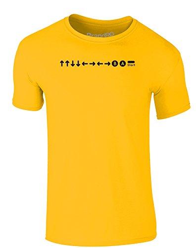 Brand88 - Konami Code, Erwachsene Gedrucktes T-Shirt Gänseblümchen-Gelb/Schwarz