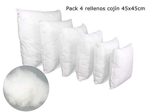 ForenTex Pack 4 Relleno Cojines 45x45 cm Fimullido Antialérgico, Blanco, 4
