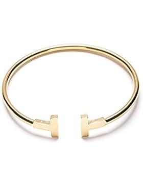Happiness Boutique Damen Offener Armreif Gold Titan   Armband Minimalist Armschmuck für Frauen