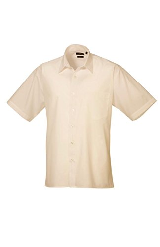 Premier Herren Formelle Popeline kurz Sleeve Shirt Gr. X-Large, natur (Herren Kurz Popeline)