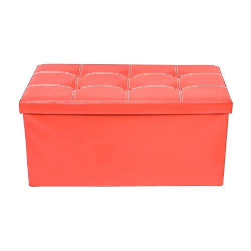 Rebecca mobili puff contenitore ecopelle pouf pieghevole baule con coperchio rosso 38 x 76 x 38 cm (cod. re4623)