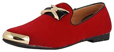 LeeGraim Men's Red Loafers - 6 UK, lg1110-6