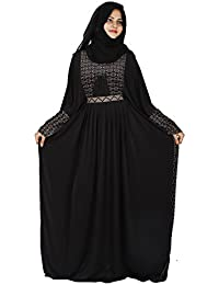 D C Women's Butterfly Velvet Lycra Dubai Style Abaya with Dupatta and Mouthpiece, Free Size(Black, AB_02)