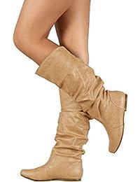 9b99e08390ad Minetom Femme Bottes Haute Hiver L Automne Mode Casual Boots en Cuir À Plis  Élégant
