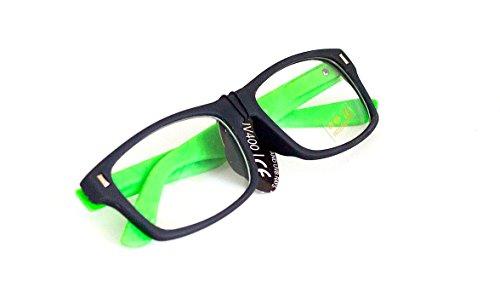 Nerd-BrilleGrün ohne Sehstärke Slim-Brille Slim-Fit 15cm Herren Damen Unisex Panto-Brille Lese-Brille Klar-Glas Nerd-Brille Geek-Brille Green Dark (Nerdy Kostüme Sexy)